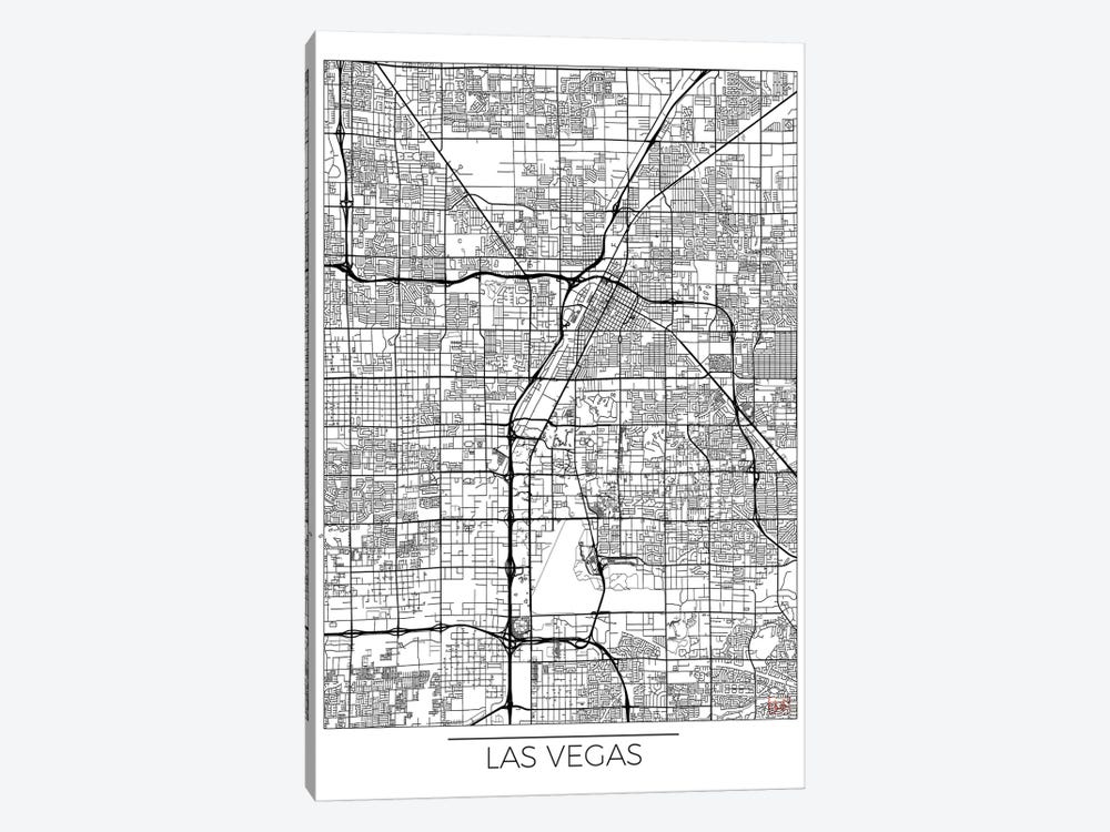 Las Vegas Minimal Urban Blueprint Map by Hubert Roguski 1-piece Canvas Print