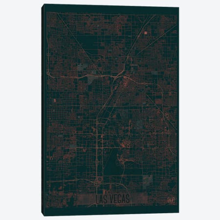 Las Vegas Infrared Urban Blueprint Map Canvas Print #HUR172} by Hubert Roguski Canvas Wall Art