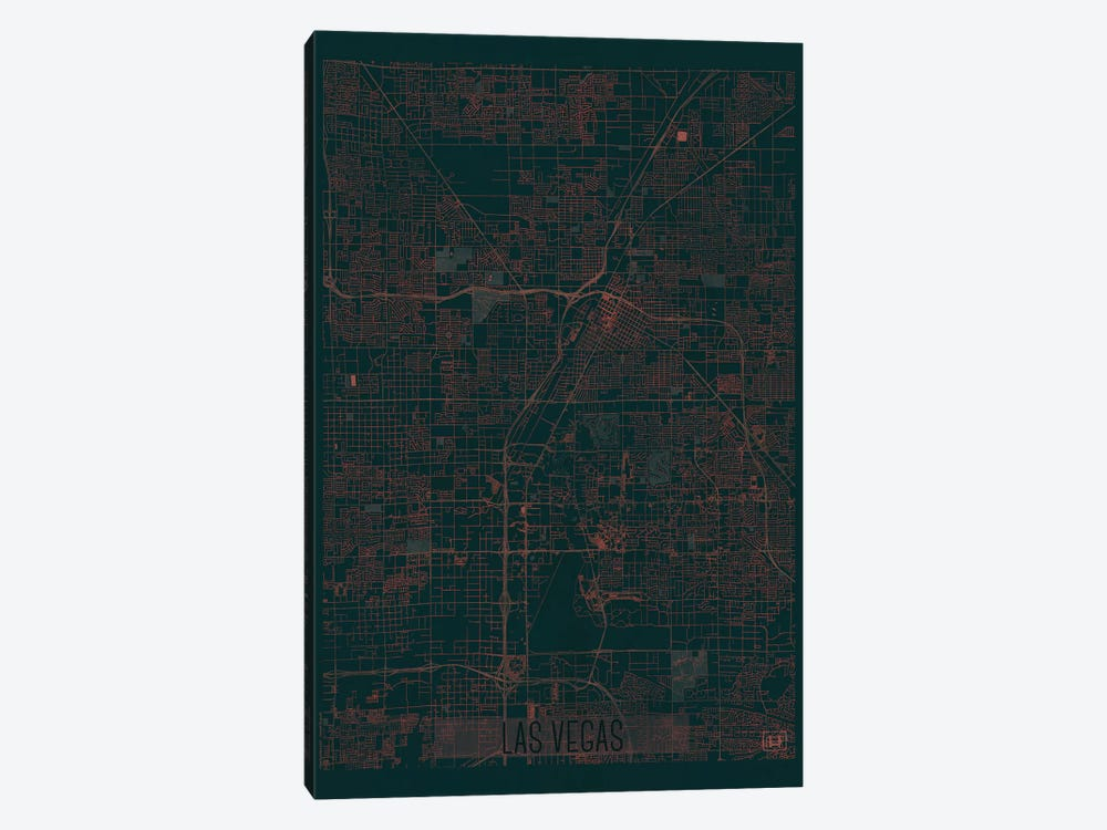 Las Vegas Infrared Urban Blueprint Map by Hubert Roguski 1-piece Canvas Wall Art