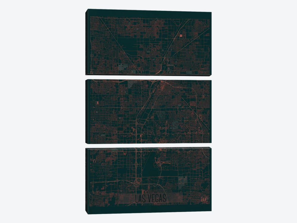 Las Vegas Infrared Urban Blueprint Map 3-piece Canvas Wall Art