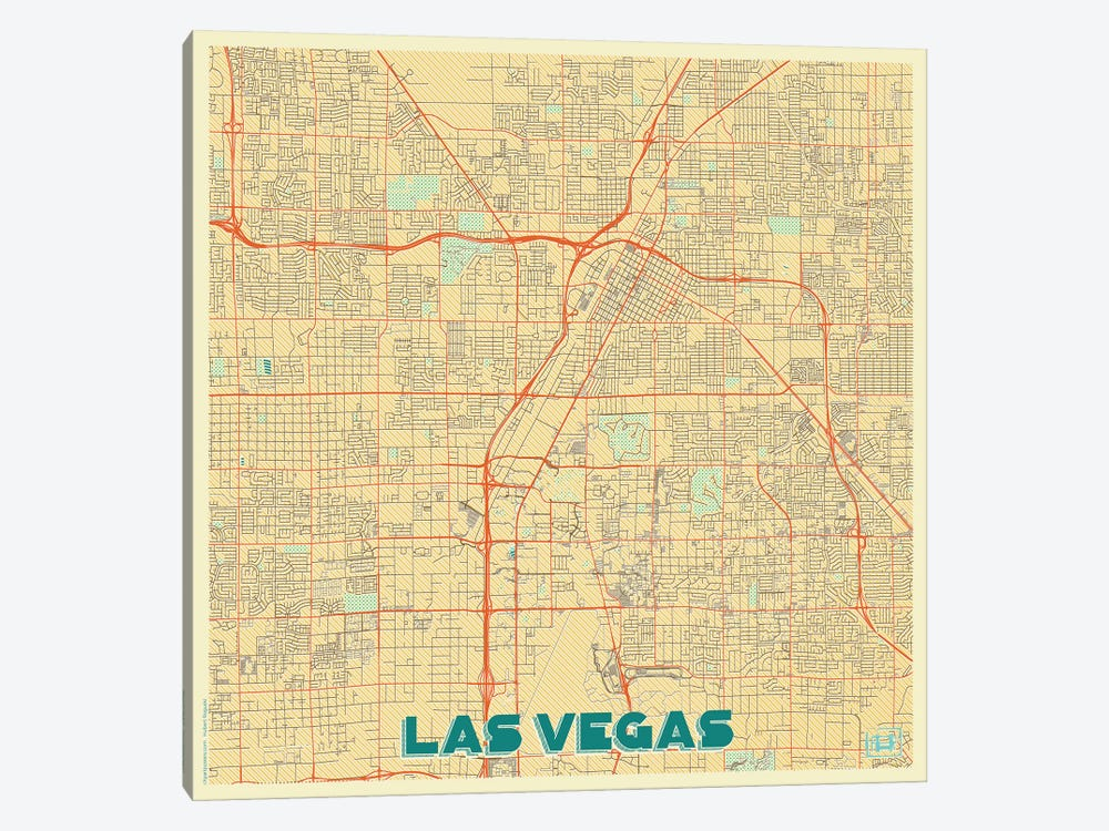 Las Vegas Retro Urban Blueprint Map by Hubert Roguski 1-piece Canvas Print