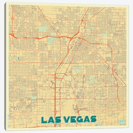 Las Vegas Retro Urban Blueprint Map Canvas Print #HUR173} by Hubert Roguski Canvas Artwork