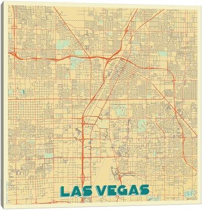 Las Vegas Retro Urban Blueprint Map Canvas Art Print