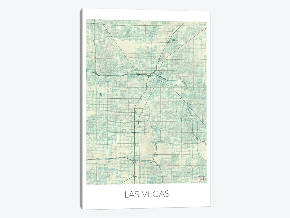 Las Vegas Vintage Blue Watercolor Urban Blueprint Map by Hubert Roguski 1-piece Canvas Artwork