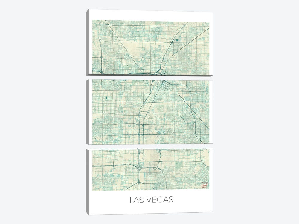 Las Vegas Vintage Blue Watercolor Urban Blueprint Map by Hubert Roguski 3-piece Canvas Wall Art
