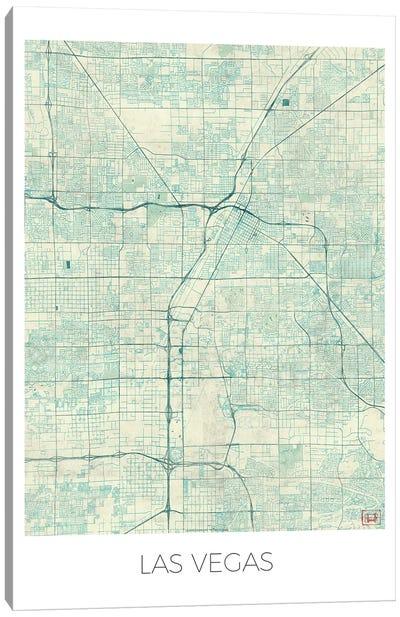 Las Vegas Vintage Blue Watercolor Urban Blueprint Map Canvas Art Print