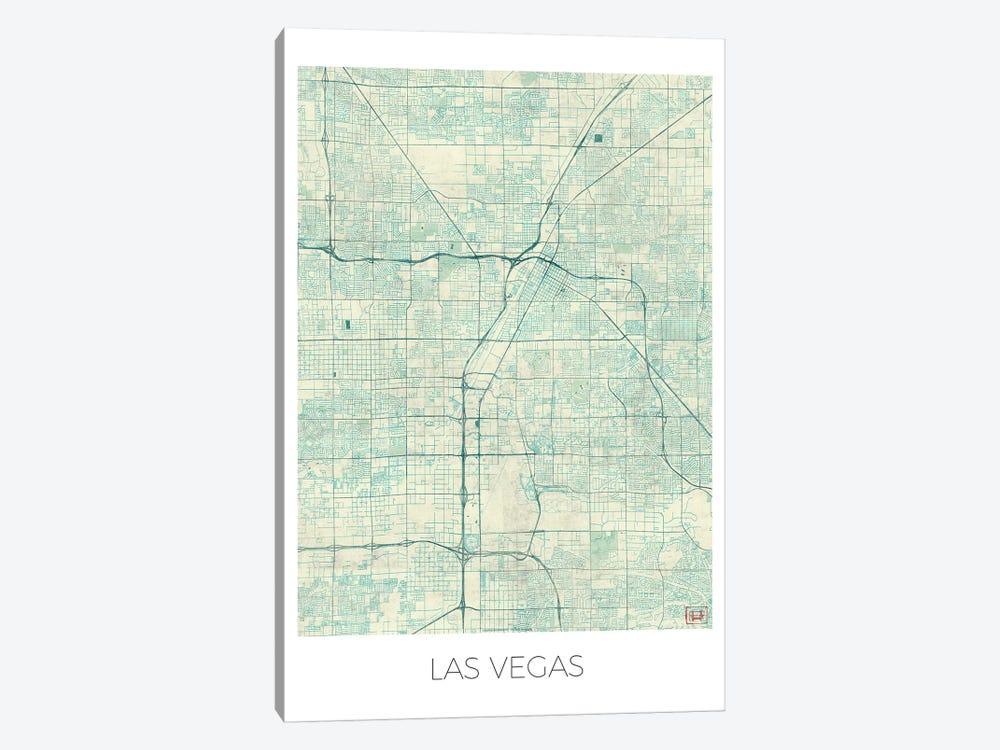 Las Vegas Vintage Blue Watercolor Urban Blueprint Map by Hubert Roguski 1-piece Canvas Artwork