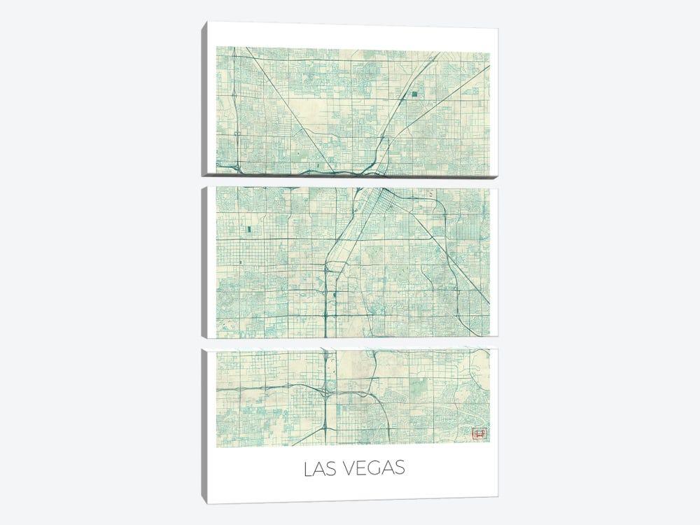 Las Vegas Vintage Blue Watercolor Urban Blueprint Map by Hubert Roguski 3-piece Canvas Wall Art