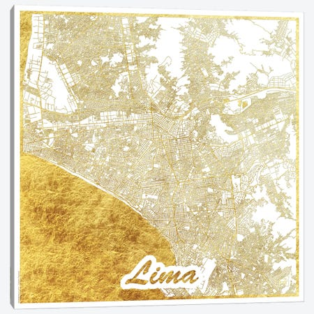 Lima Gold Leaf Urban Blueprint Map Canvas Print #HUR175} by Hubert Roguski Canvas Print