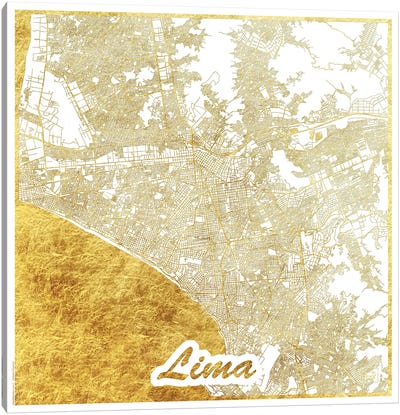 Lima Gold Leaf Urban Blueprint Map Canvas Art Print