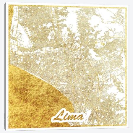 Lima Gold Leaf Urban Blueprint Map Canvas Print #HUR175} by Hubert Roguski Canvas Print