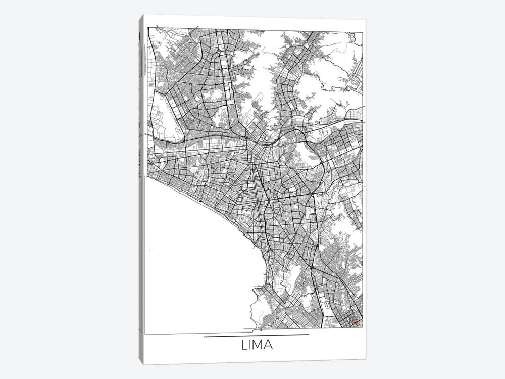 Lima Minimal Urban Blueprint Map by Hubert Roguski 1-piece Canvas Wall Art