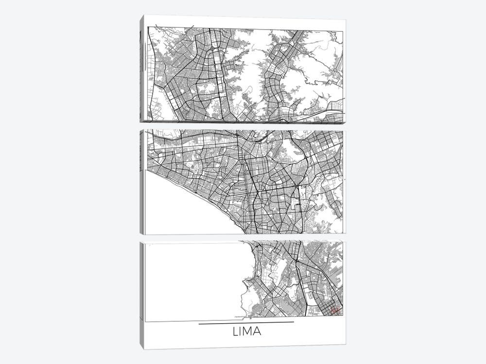 Lima Minimal Urban Blueprint Map by Hubert Roguski 3-piece Canvas Artwork