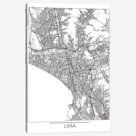 Lima Minimal Urban Blueprint Map Canvas Print #HUR176} by Hubert Roguski Canvas Art Print