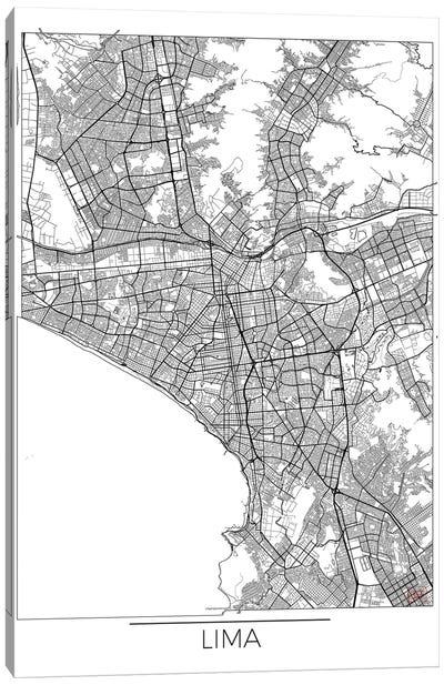 Lima Minimal Urban Blueprint Map Canvas Art Print