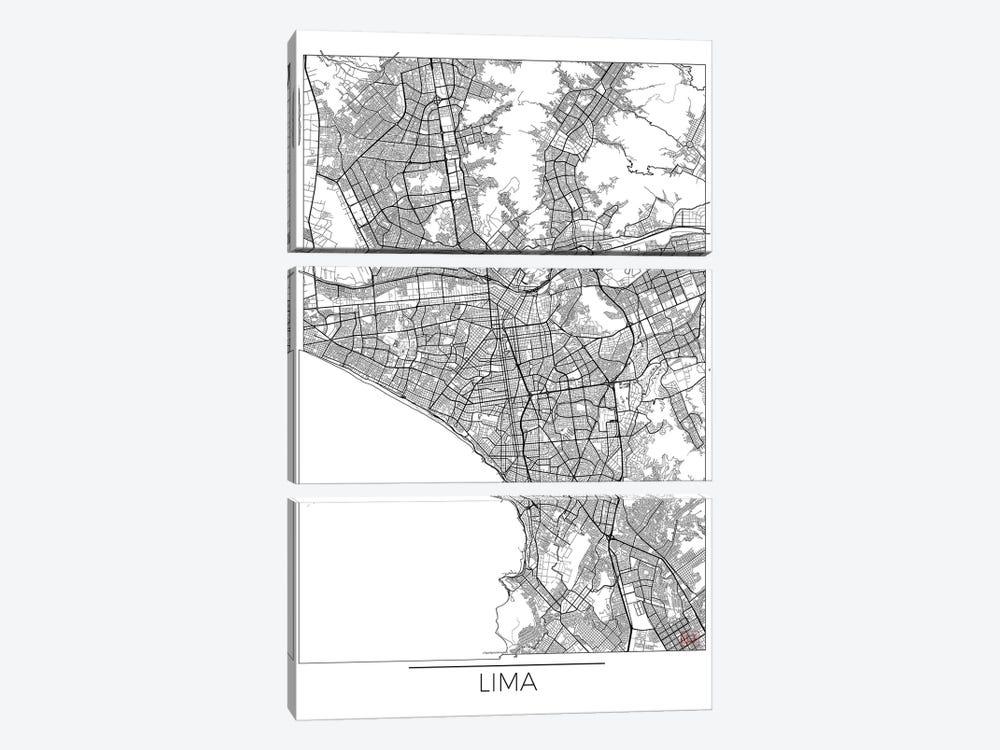 Lima Minimal Urban Blueprint Map by Hubert Roguski 3-piece Canvas Artwork