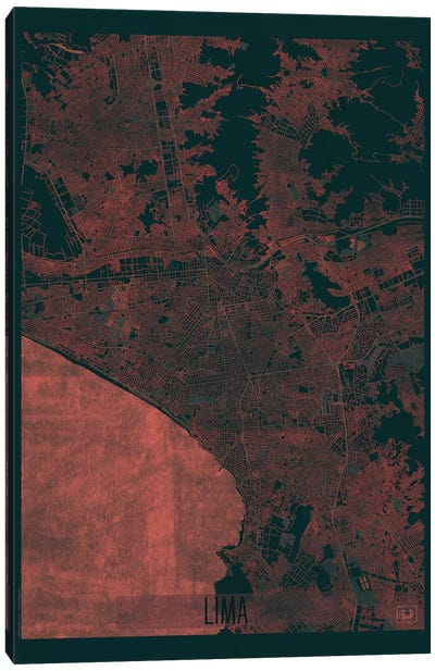 Lima Infrared Urban Blueprint Map Canvas Art Print