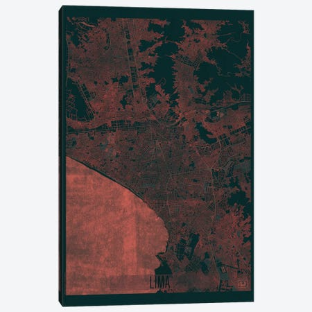 Lima Infrared Urban Blueprint Map Canvas Print #HUR177} by Hubert Roguski Canvas Print