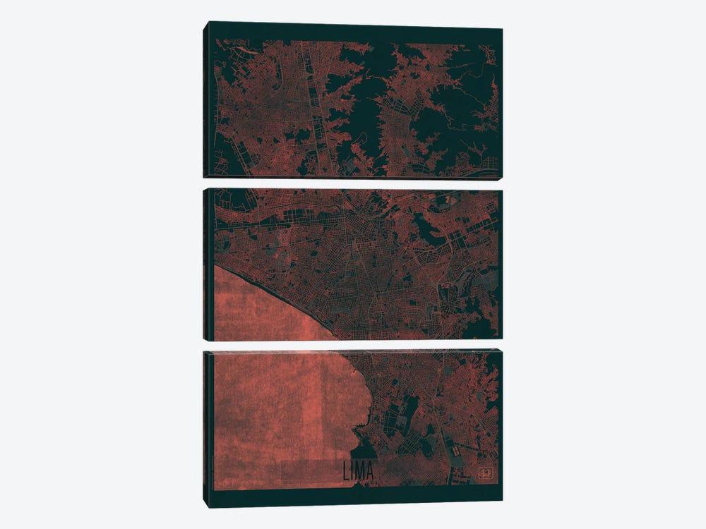 Lima Infrared Urban Blueprint Map by Hubert Roguski 3-piece Art Print