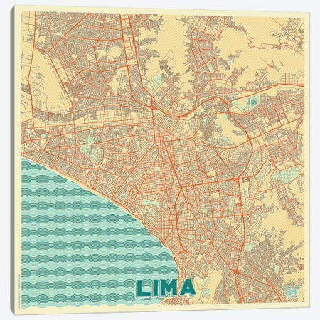 Lima Retro Urban Blueprint Map Canvas Print #HUR178} by Hubert Roguski Canvas Artwork