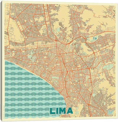 Lima Retro Urban Blueprint Map Canvas Art Print