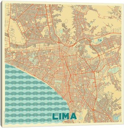 Lima Retro Urban Blueprint Map Canvas Art Print