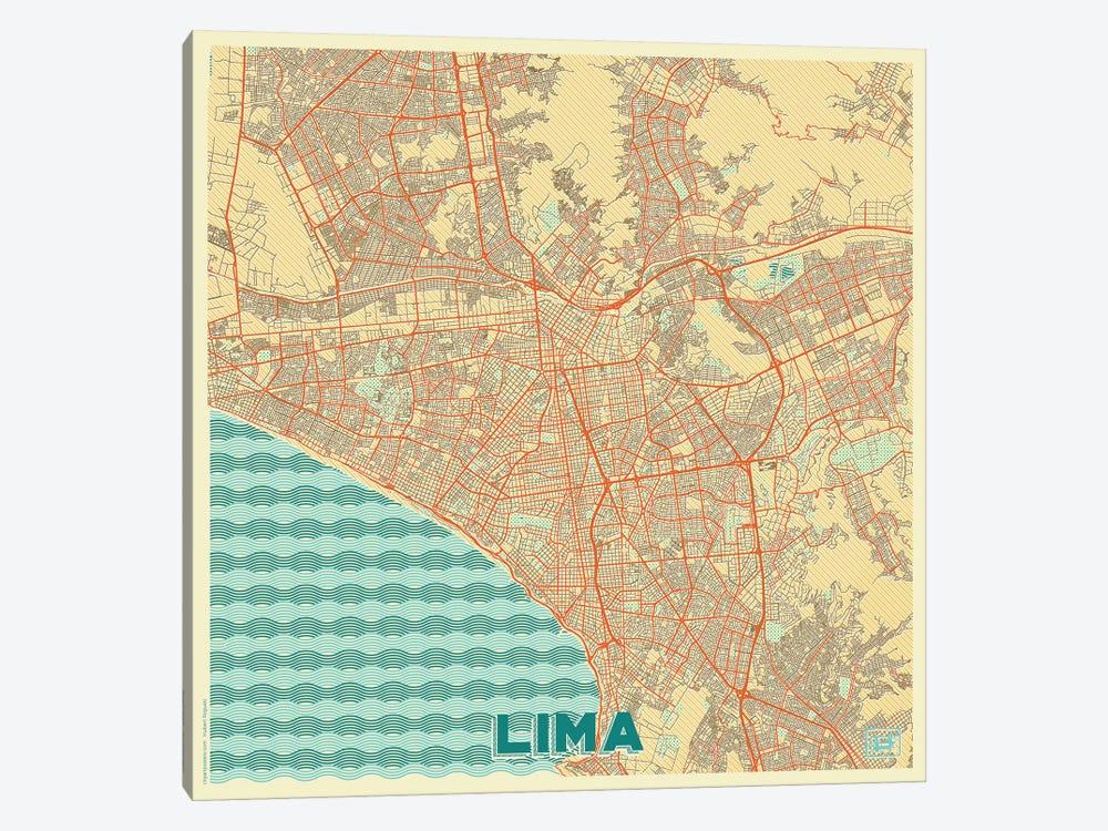 Lima Retro Urban Blueprint Map by Hubert Roguski 1-piece Canvas Artwork