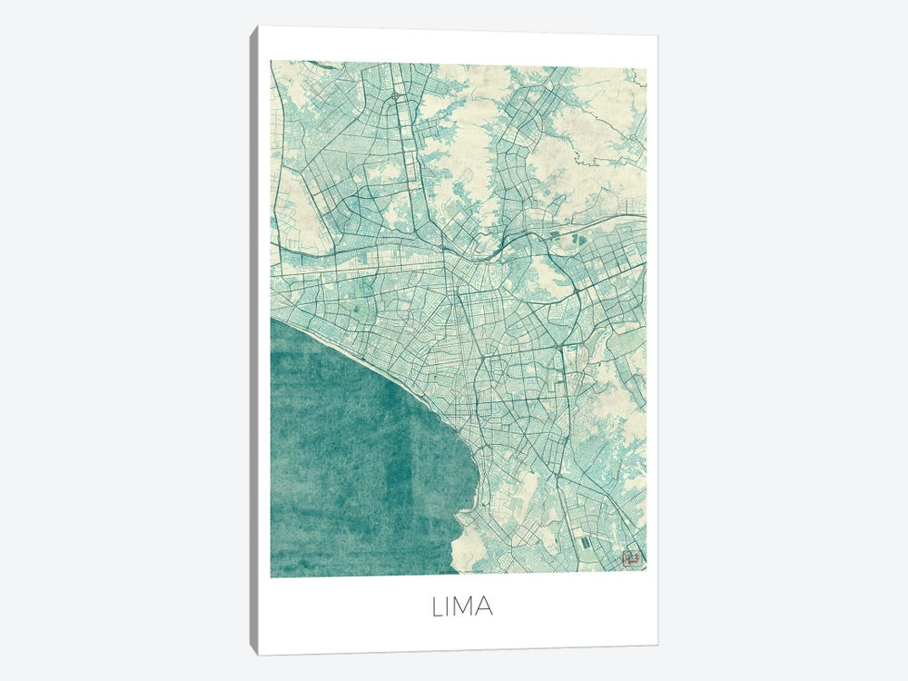 Lima Vintage Blue Watercolor Urban Blueprint Map by Hubert Roguski 1-piece Canvas Print