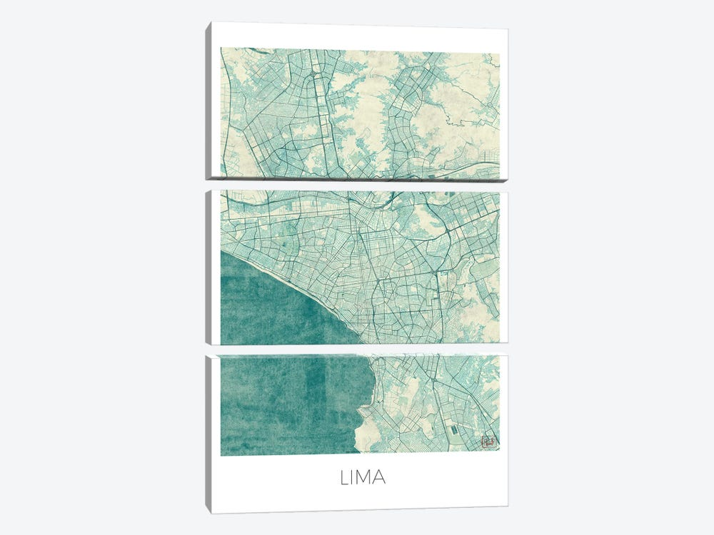 Lima Vintage Blue Watercolor Urban Blueprint Map by Hubert Roguski 3-piece Canvas Art Print