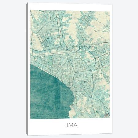 Lima Vintage Blue Watercolor Urban Blueprint Map 3-Piece Canvas #HUR179} by Hubert Roguski Canvas Artwork