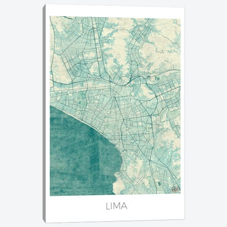 Lima Vintage Blue Watercolor Urban Blueprint Map Canvas Print #HUR179} by Hubert Roguski Canvas Artwork