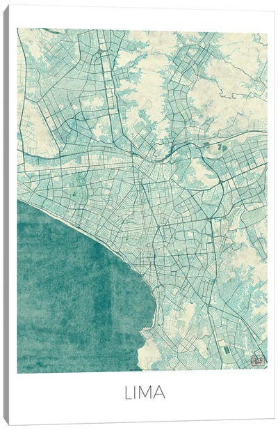 Lima Vintage Blue Watercolor Urban Blueprint Map Canvas Art Print