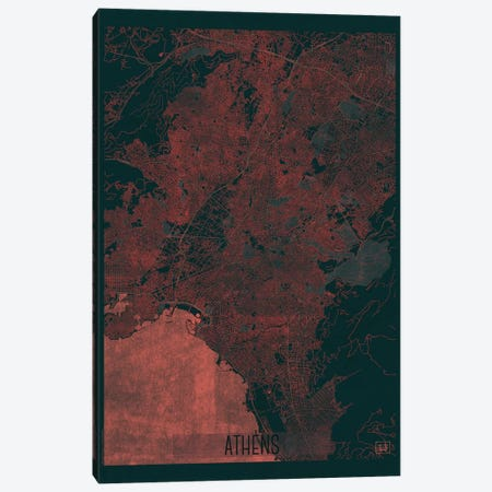 Athens Infrared Urban Blueprint Map Canvas Print #HUR17} by Hubert Roguski Art Print