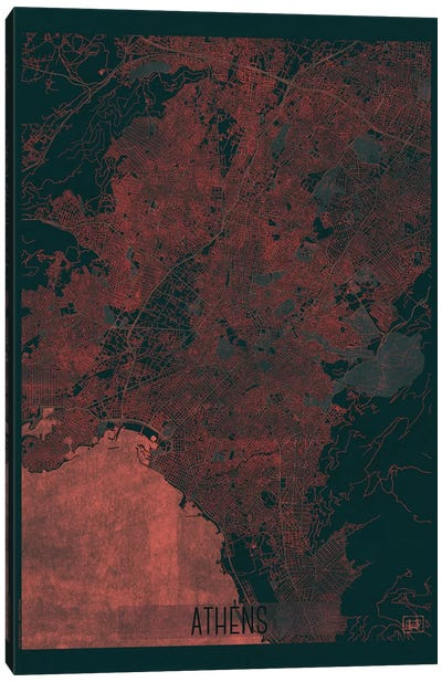Athens Infrared Urban Blueprint Map Canvas Art Print