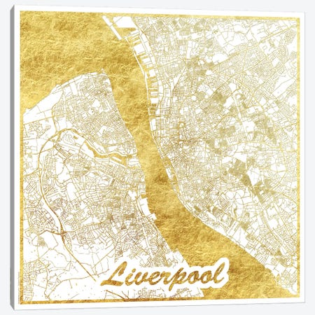Liverpool Gold Leaf Urban Blueprint Map 3-Piece Canvas #HUR180} by Hubert Roguski Canvas Print
