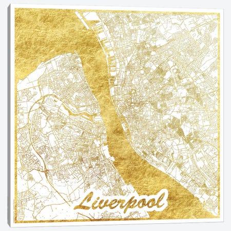 Liverpool Gold Leaf Urban Blueprint Map Canvas Print #HUR180} by Hubert Roguski Canvas Print