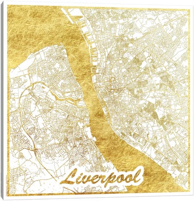 Liverpool Gold Leaf Urban Blueprint Map Canvas Art Print