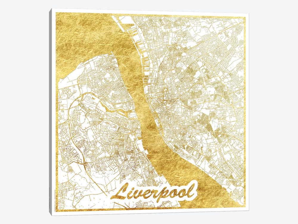 Liverpool Gold Leaf Urban Blueprint Map by Hubert Roguski 1-piece Canvas Art Print