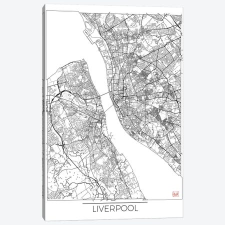 Liverpool Minimal Urban Blueprint Map 3-Piece Canvas #HUR181} by Hubert Roguski Canvas Art Print
