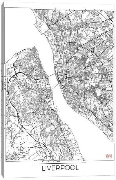 Liverpool Minimal Urban Blueprint Map Canvas Art Print