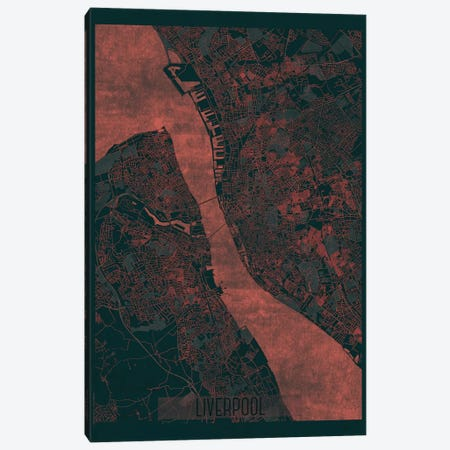 Liverpool Infrared Urban Blueprint Map Canvas Print #HUR182} by Hubert Roguski Canvas Print