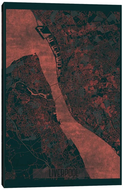 Liverpool Infrared Urban Blueprint Map Canvas Art Print