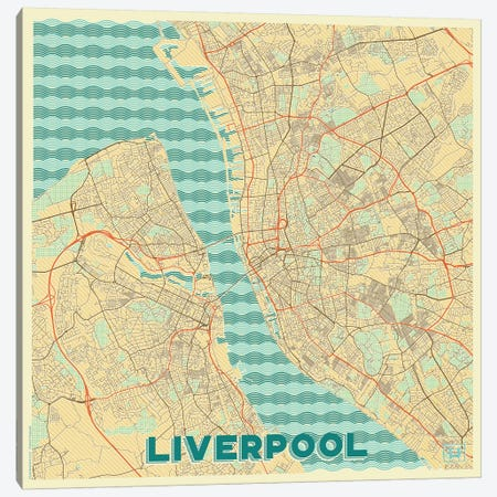 Liverpool Retro Urban Blueprint Map 3-Piece Canvas #HUR183} by Hubert Roguski Canvas Art Print