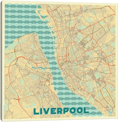 Liverpool Retro Urban Blueprint Map Canvas Art Print