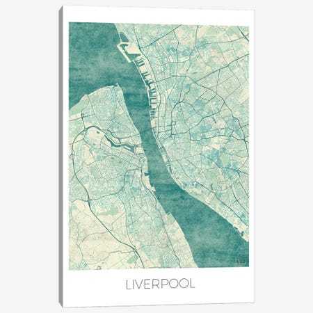 Liverpool Vintage Blue Watercolor Urban Blueprint Map 3-Piece Canvas #HUR184} by Hubert Roguski Canvas Artwork