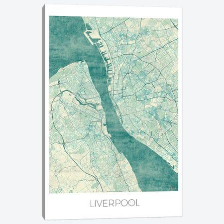 Liverpool Vintage Blue Watercolor Urban Blueprint Map Canvas Print #HUR184} by Hubert Roguski Canvas Artwork