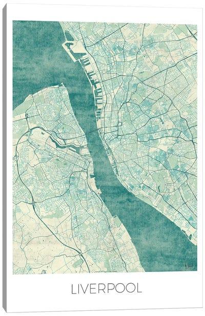 Liverpool Vintage Blue Watercolor Urban Blueprint Map Canvas Art Print