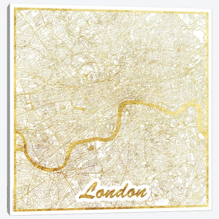 London Gold Leaf Urban Blueprint Map Canvas Print #HUR185} by Hubert Roguski Canvas Wall Art