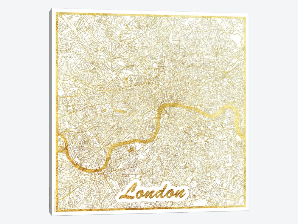 London Gold Leaf Urban Blueprint Map by Hubert Roguski 1-piece Canvas Wall Art