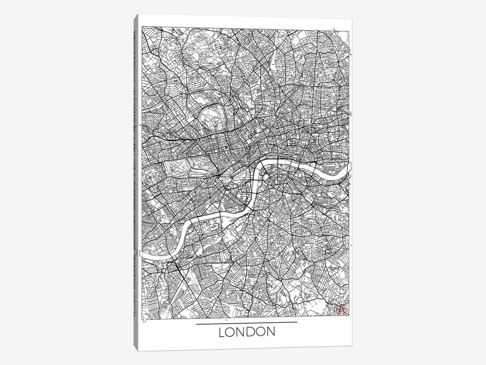 London Minimal Urban Blueprint Map by Hubert Roguski 1-piece Canvas Art Print